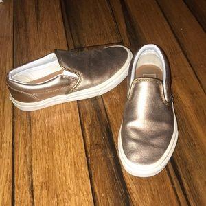 Metallic Bronze Vans Slip-Ons
